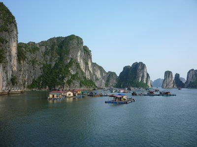 Fishing village in Ha Long Bay.