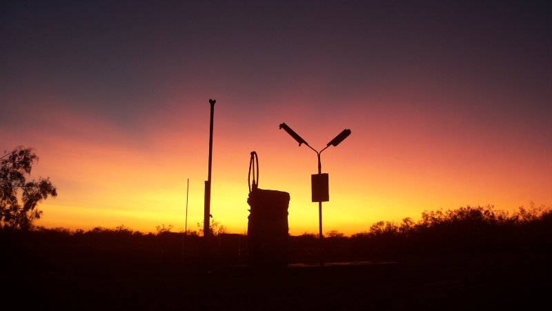 Petrol pumps at dawn