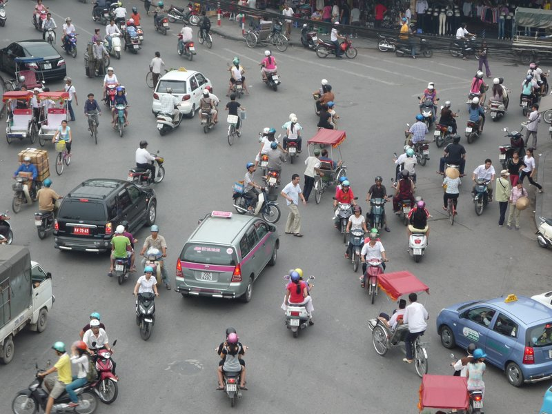 Typical road junction in Hanoi.