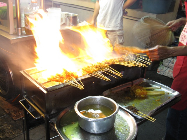satay on fire