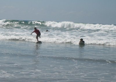 Dave took surfing lessons, and really took to the waves. The next day we both took a great yoga class (my first) at Casa Zen.