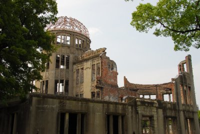 The A-bomb dome is one of the buildings left standing. The bomb exploded directly above it, having missed the actual target, a nearby bridge. It remains as a reminder of why we need to rid the world of nuclear weapons.