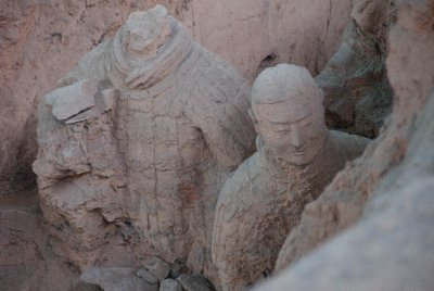 Broken Terracotta Warriors are recreated by archeologists.