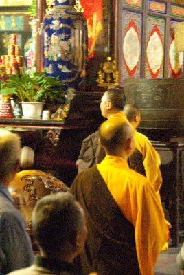 Monk with his gong.