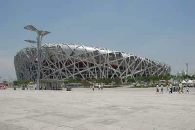 The Bird's Nest used for the opening and closing ceremonies was much more exquisite from the outside. Inside prep work was being done for a summer concert.