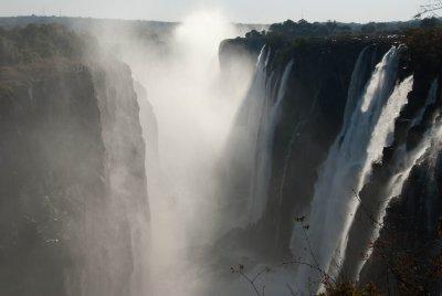 The indigenous people call the falls Mosi-oa-Tunya (the Smoke that Thunders).