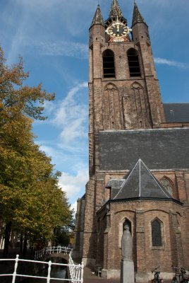 The Netherlands is built below sea level, so many buildings are on soft foundations. As a result many homes and buildings are crooked like this church in Delft.