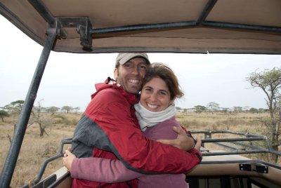 Enjoying the ride on the safari truck.