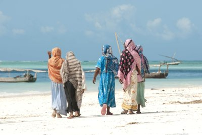 Muslim women heading to fish.
