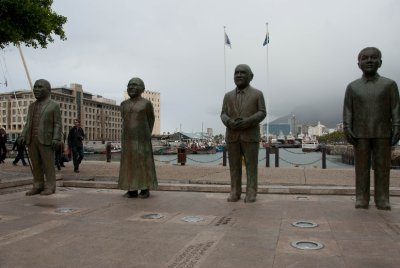A monument of South Africa's Nobel Peace prize winners; William De Klerk, Bishop Desomond TuTu, Albert Luthuli, and Nelson Mandela. It is a source of tremendous pride that the country achieved freedom for all its people without civil war.