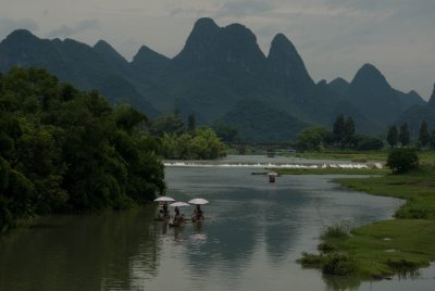Bamboo rafts are another popular way to see the river.