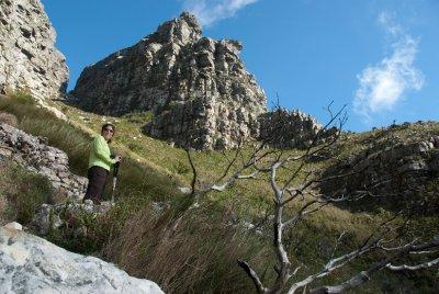 Elizabeth hiking up Table Mountain.