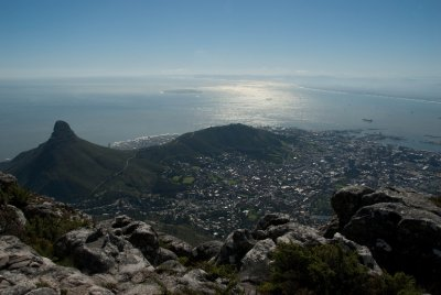 View of downtown Cape Town from the top of Table Mountain. South Africa's landscape is full of beautiful mountains, valleys, oceanfronts and cities.