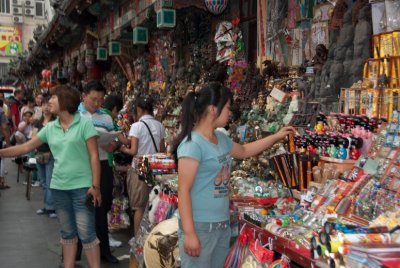 Beijing's night market is popular since outside temperatures are more bearable in the evening.