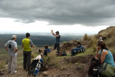 Miguel, our Alto Rumbo guide, describing the history and geology of Champaqu and the Valle de Calamuchita in Spanish. I tried to translate for Elizabeth, but my Spanish was pushed past my limit. Miguel would talk for five minutes and I would inevitably translate, &#34;that rock is of some importance.&#34;