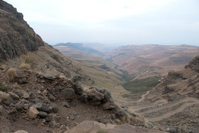 Sani Pass through the Drakensberg Mountains.