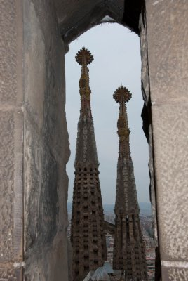 Steeples from a window inside Sagrada Familia.