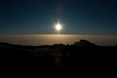 Sunrise as we climbed to the summit.