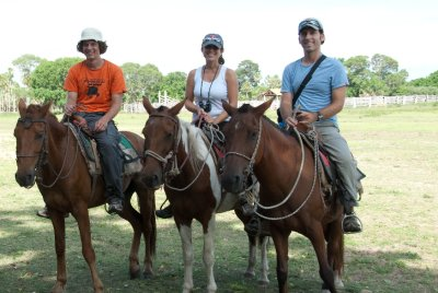 Three amigos, rather three inexperienced horse riders, including Sjoerd from the Netherlands. Sjoerd's horse did a spin every ten steps and our horses led us right into prickly trees. We have war wounds on our legs and arms to prove it : - )