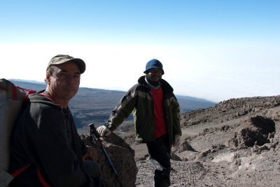 Jose Maria with Juma, our wonderful mountain guide who has been climbing Kilimanjaro for 12 years. The day after our climb finished, Juma headed up the mountain again with another group. I was exhausted, so this is an amazing feat by the guides and porters who work non-stop.