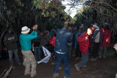 After the summit we made a long descent all the way back down to 12,000 feet, making for 20 hours of climbing and descending in a row. We danced and sang the Kilimanjaro song with the porters in celebration.