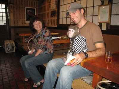 The monkey formed a bond with me... most likely because of my hairy monkey-like appearance.