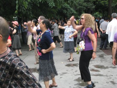 Edie gets her groove on at the People's Park in Chengdu.