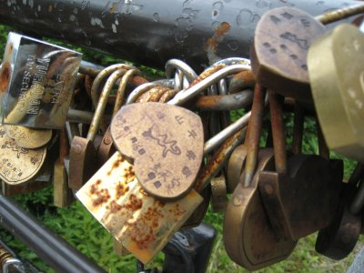 Local lovers put love locks on the railing at the top of Mt. Emei and then throw the key over the mountain to showcase their love for each other. We'll lock our love in other ways as the locks were way overpriced. We're so cheap!