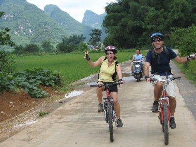 Cycling through the back roads of Yangshuo is fabulous!
