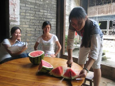 We stopped at a farmer's house to eat some fresh watermelon. It was the juiciest and sweetest watermelon we'd ever tasted!