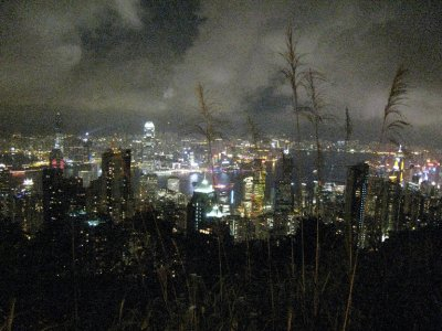 A view of Hong Kong Island at night from Victoria Peak. For 15 minutes every night the buildings light up to choreographed music. The gimmicky performance didn't wow us.