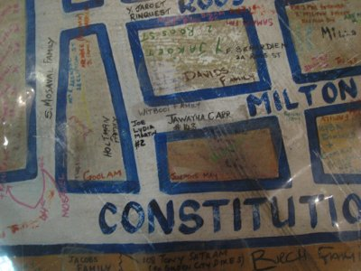 People wrote in their family name on the map where they once lived before being forcefully removed from District Six. Some of the land is now being returned to the people.