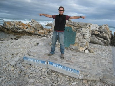 Dave at the most southern tip of Africa, Cape Agulhas, South Africa