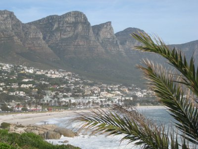 Beaches line the coastal drive between Cape Point and Cape Town. Camps Bay is on the back side of Table Mountain.