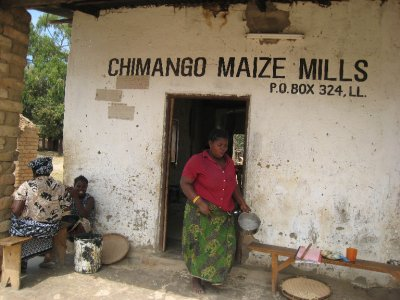 Workers at a maize plant make food for people in the village. Maize is a main stay of most meals. It is thick and starchy, often served like mashed potatoes or porridge.