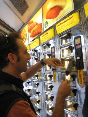 After the ride we stopped for some local fast food at FEBO . . . croquettes right from a vending machine. The fried cheese and meat roll was oddly good.