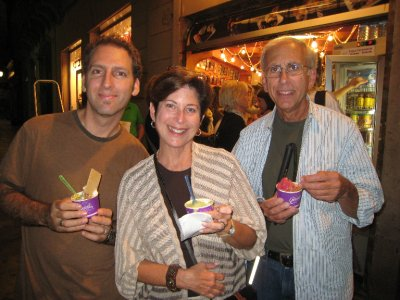 Enjoying gelato with Cheryl and Ken.