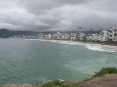 During our walk on this cloudy day we couldn't even find a girl from Ipanema on the Ipanema beach.