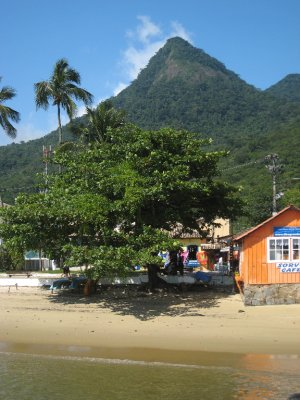 Ilha Grande view from boat of orange store