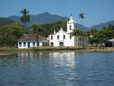 Paraty old town church from water