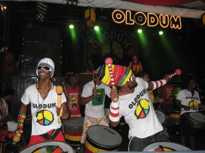 The percussion band Olodum performing in the Pelourinho neighborhood of Salvador, Bahia, Brazil.