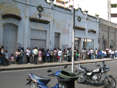 Direct deposit hasn't made its way to Argentina. Bank lines are incredibly long, wrapping around buildings, especially at the beginning of the month when seniors want to collect government checks.