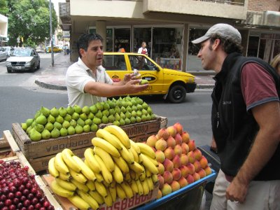 We had to buy the peculiar looking green fruit from this peddler. Two days later we realized it was a fig and not some tropical Argentinian fruit.