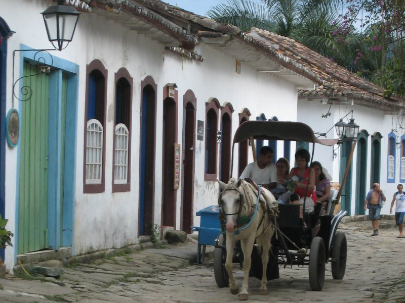 Paraty old town with horse