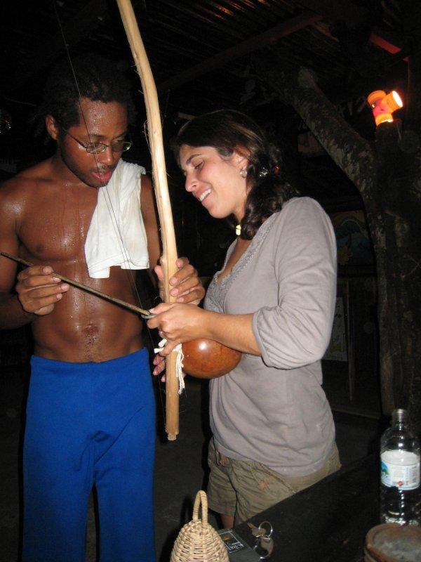 Itacare, Elizabeth learning capoeira instrument