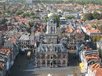 Delft scenic view from top of church bell