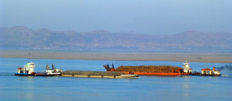 Barges on the Irrawaddy River