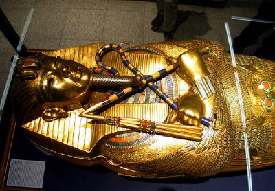 One of the three coffins in which his mummy was encased.