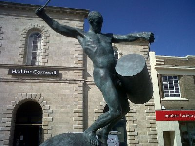The Drummer - a newly unveiled statue on Lemon Quay, Truro.