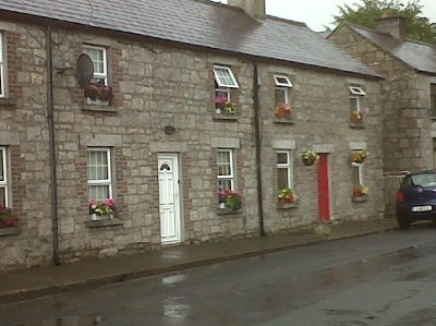 Typical Irish townhouses in Rathvilly.